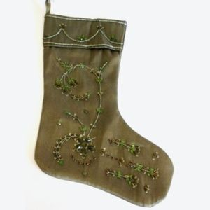 Christmas Stocking Olive Green Beaded Jewels 17""